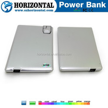 Metal card usb flash drive 8GB power bank for mobile 1000mah ,portable card usb disk metal power bank