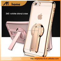 New 360 degree rotating phone stand case cover for iphone 7plus, for iphone 7 ultra thin TPU electroplate case cover