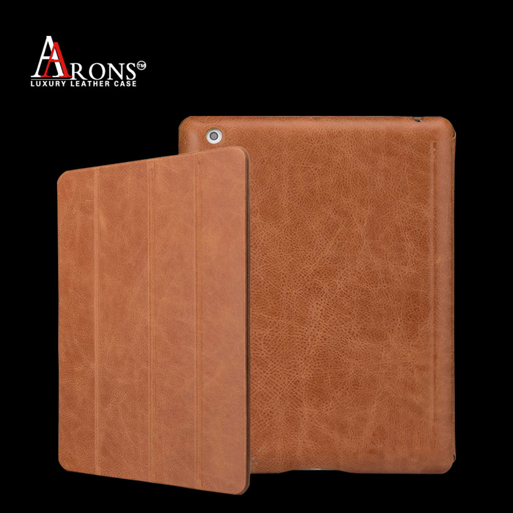 Fashion table case PC hard back cover make in genuine cowhide leather for ipad air