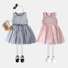 YDA2955summer girl dress 2017 european puffy shiny girl dress