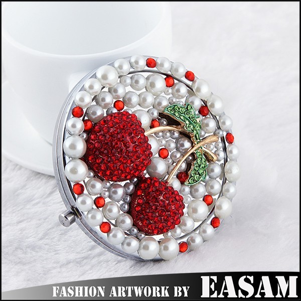 Cherry design makeup double sided round mirror with full rhinestone