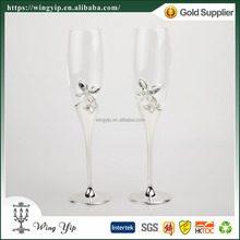 Wholesales Custom made Free sample Wedding guest gift Crystal Butterfly Silver Plated Champagne Flute