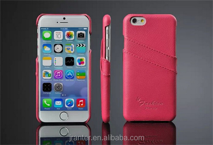 Cell phone back cover case with card slot for Iphone 6, wholesale leather case cover for iphone 6s