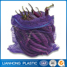 Various Size, Color PE raschel mesh bag for eggplant, onion, pepper packing, Bio-degradable and cheap mesh bag manufacturer.