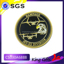 Soft enamel MV-22 division gold challenge coin with eagle and air craft logo