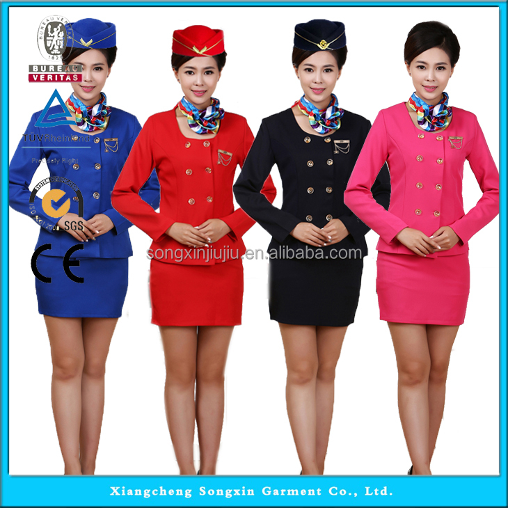 Fashion Air Asia Uniform, Sexy Air Hostess, Ladies Airline Stewardess Uniform