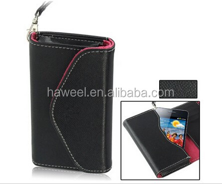 Fish Scale Texture Wallet Holster Leather Case with Grip for iPhone 4S / Other Less Than 4.3 inch Mobile Phone