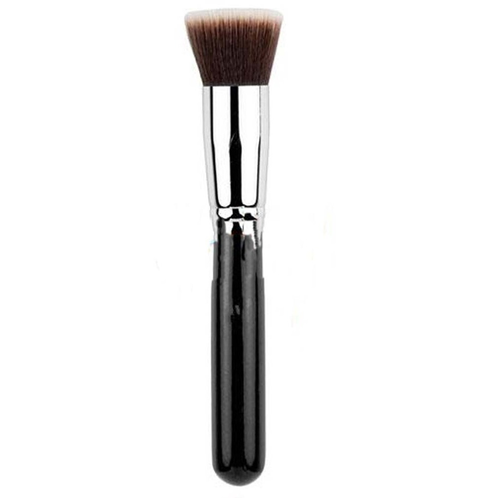 NEW Soft Synthetic Large Cosmetic Blending Foundation Silver Makeup Brush Set