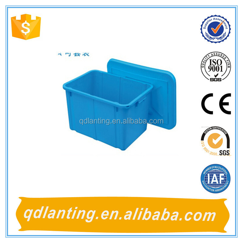 HDPE ECO-friendly plastic crate packaging/plastic storage box with lid for food