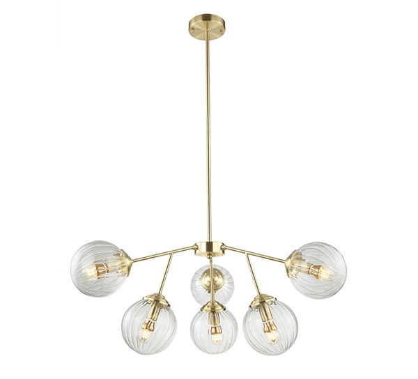Luxury satin gold plating pendant lamp with D150mm glass shade