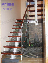 Design modern stair railing commercial metal stairs exterior wooden stair(PR-L04)