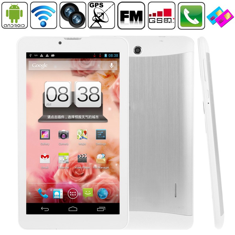 3G Tablet PC SIM Phone Call tablet MT6572 Dual Core Phablet 7inch 1024*600 HD Bluetooth Android 4.4 Dual Cam