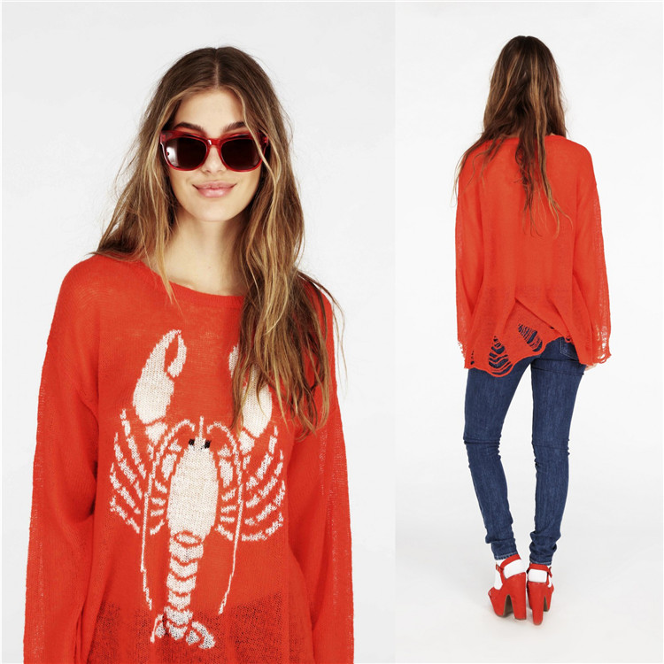 AUT30 European Street Style Sweet Knitted Sweater Young Ladies Loose Fashion Sweater