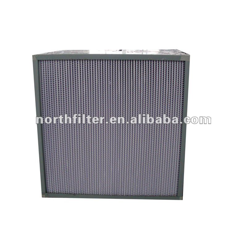 deep pleated high efficiency medical air filter 99.995%H14, galvanized steel frame, glass fiber media, paper separator