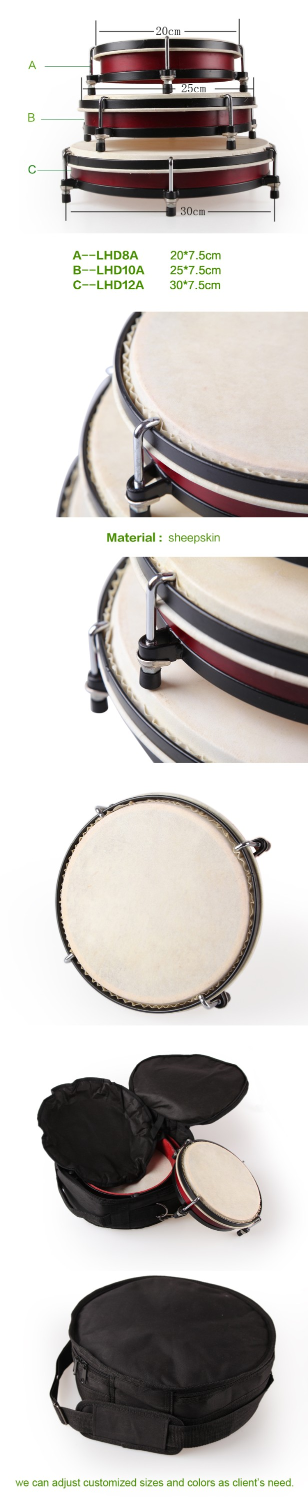 Hand drum set with nylon bag music percussion set instrument