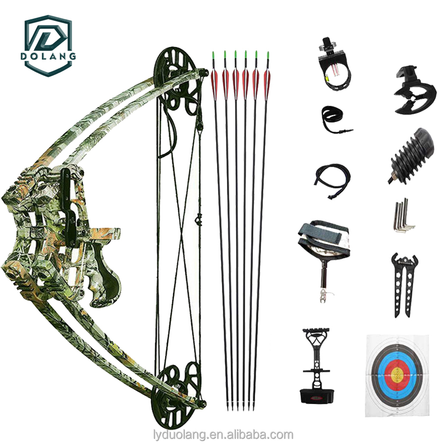 DOLANG 45lbs Camo Archery Compound Bow Triangle Bow for Left Right Hand Hunter Shooter Hunting Shooting Slingshot Bow