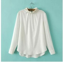 C64373A european style chiffon stand collar blouse for women