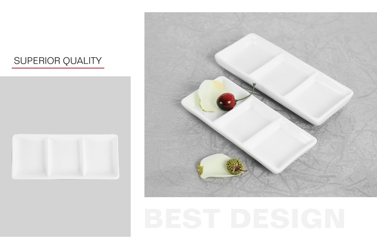 Wholesale three section tray sauce dish rectangular divided plate for restaurant