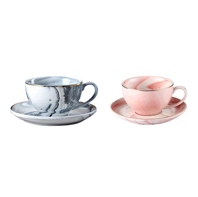 4.5oz Marble Ceramic Coffee <strong>Cup</strong> and Saucer Royal Style Porcelain Personal Afternoon Tea Mug <strong>Cup</strong> Set with plates party Gift