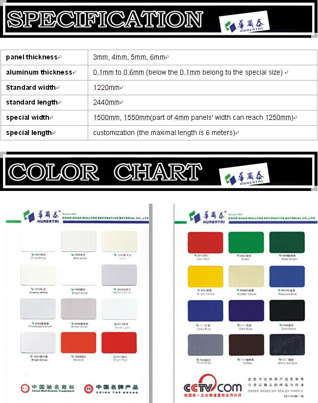 Aluminum composite panel with brushed in various colors alucobonde price