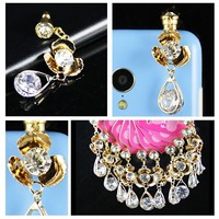 Luxury bling cell accessories earphone jack dust proof plug for iphone plug