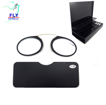 2018 Hot selling folding nose plastic mini reading glasses without arms