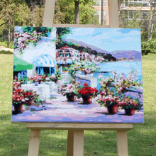 Acrylic village scenery oil painting by numbers kits on canvas for decoration