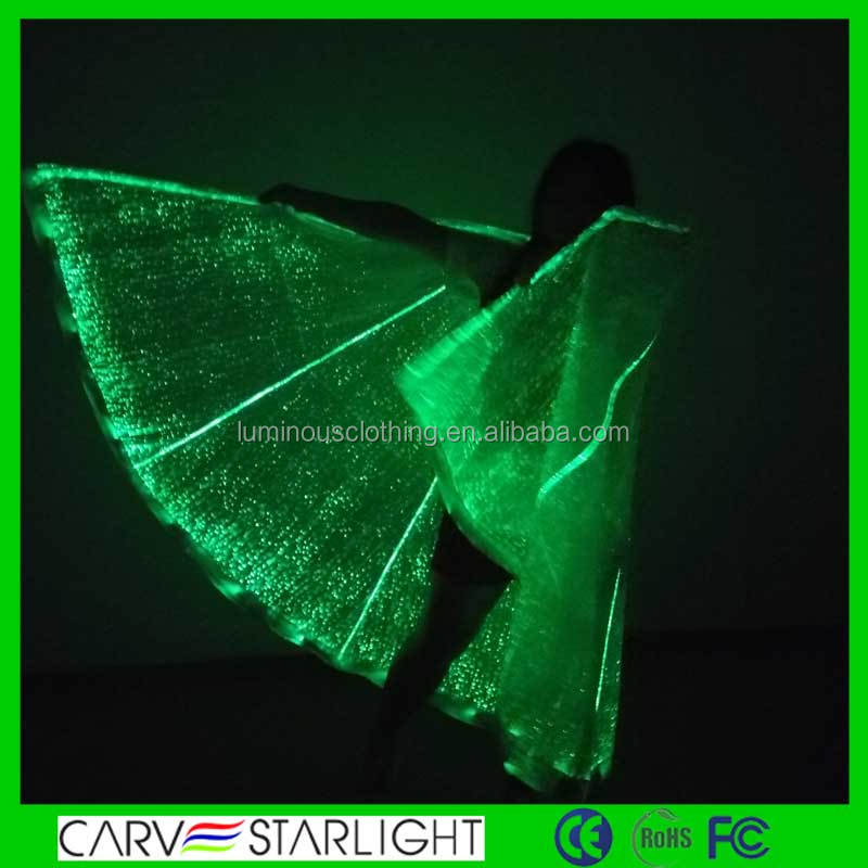 2015 fiber optic fabric led light up isis belly dance wings