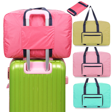 210d polyester foldable collapsible portable duffle women flight travel bag
