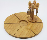 bamboo wood cheese board with tool holder