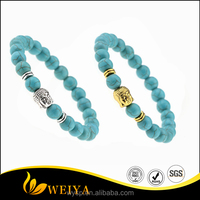 Fashion Handmade Silver Gold Metal Buddha Head Turquoise Beads Bracelet