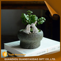 Figurine real plant real flowers resin cabochon animal resin craft plant pot garden decoration