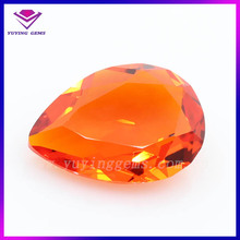 Synthetic pear shape red rough uncut diamond