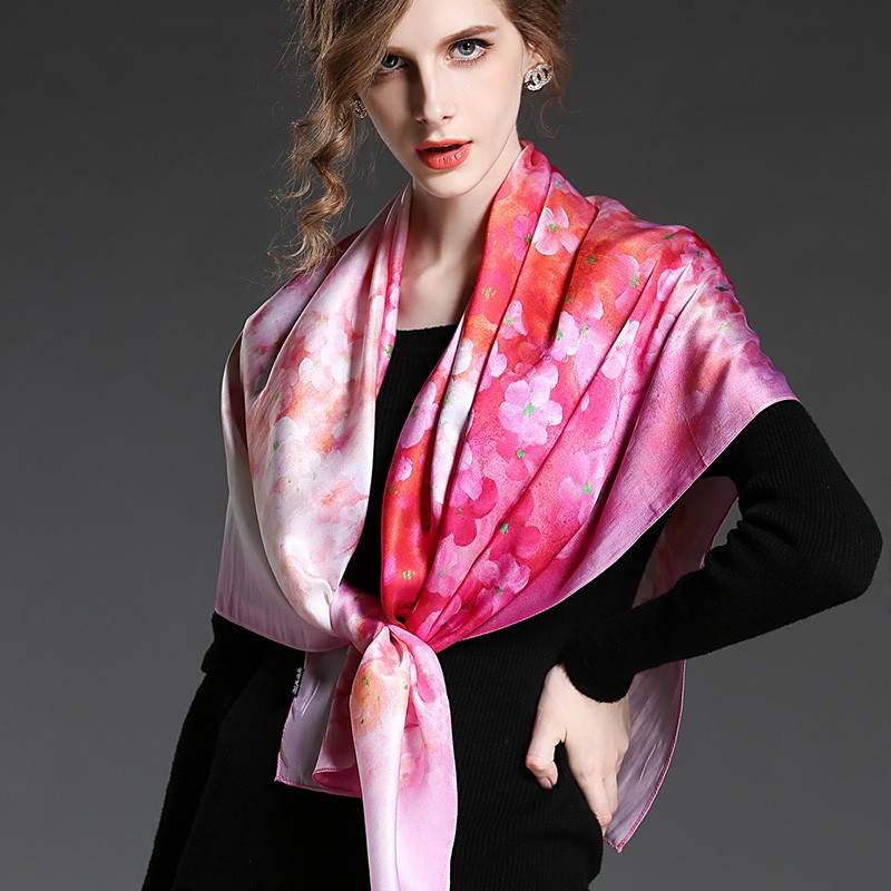 Pink silk square scarf for women with flowers