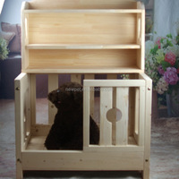 Top level stylish design pet house bed cheap wooden dog house for sale with locker
