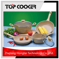 2016 New Milk White Marble Non-stick Coating Cookware Set