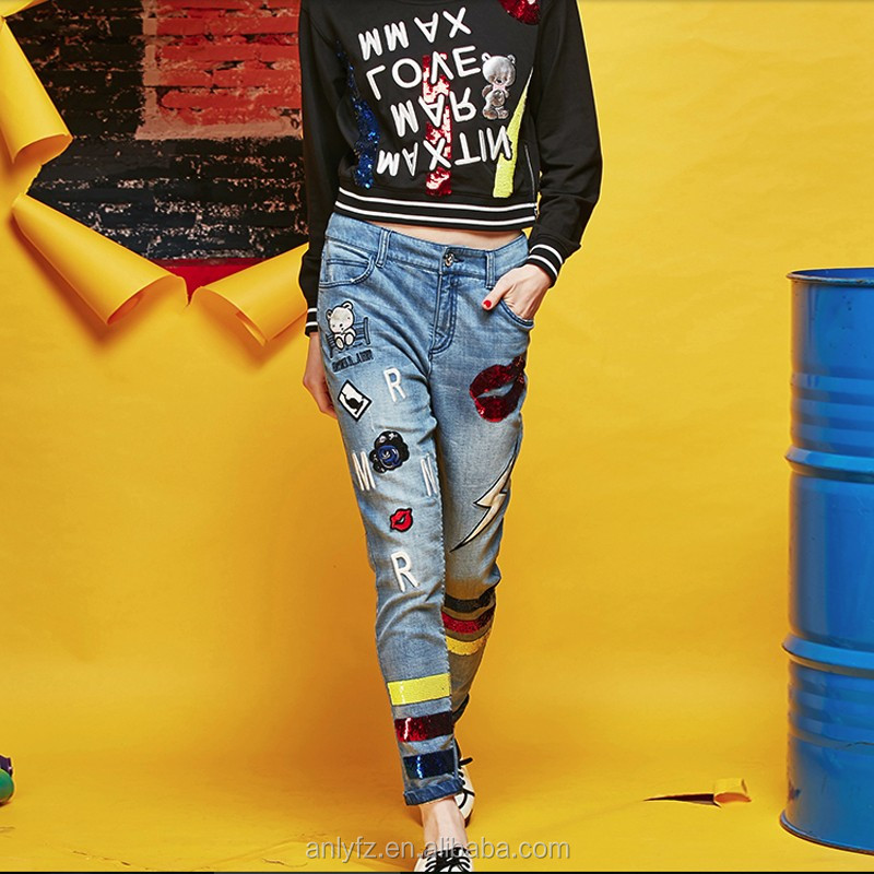 2Women/Female Fashion Wide Leg Jeans Pants Womens Bloomers Casual Denim Trousers Ladies Slim Leggings Jeans Pencil Pants