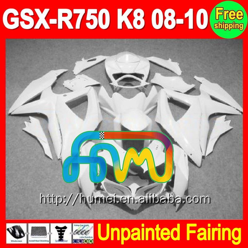 8Gifts Unpainted Full Fairing Kit For SUZUKI GSX-R600/750 GSXR600 GSXR750 GSXR 600 750 K8 08 09 10 2008 2009 2010 Fairings
