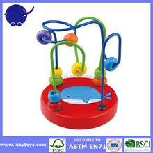 Educational wood Toy Multi Color bead roller coaster