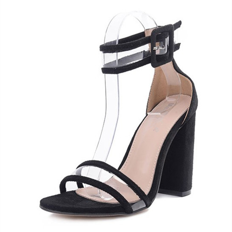 fashion new american pvc parthwork buckle women sandals thick high heel ladies summer shoes