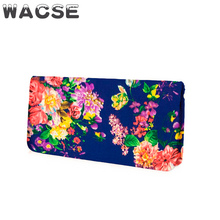 wholesale low quantity floral print custom fabric lady wallet