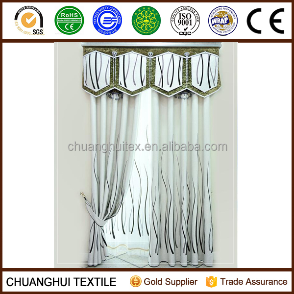 line pattern flocking woven blackout curtain