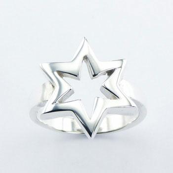 Six Pointed Open Star Unique Planet Silver Ring Design