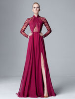 Hand made ruffled burgundy side slit a line chiffon floor length evening dress with long sleeve