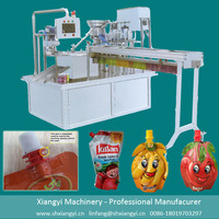Automatic stand-up pouch beverage filling&capping and sealing machine
