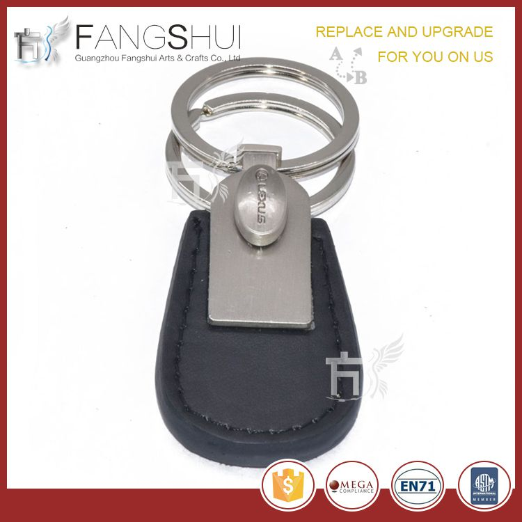Car logo leather keyring/high quality customized leather key ring wholesale