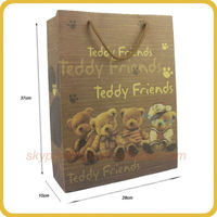 Classic style Teddy printing cheap christmas brown paper gift bag