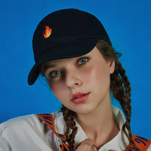 Retro hip hop style simple custom design high quality fashion 2D embroidered flame hat