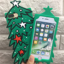 Merry Christmas Tree Phone Cases For iphone x 8 8plus Back Cover 3D Silicone Tree Case For iPhone 7 6 5S SE 6S Plus