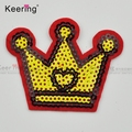 Wholesale crown custom iron-on garment sequin embroidery patch